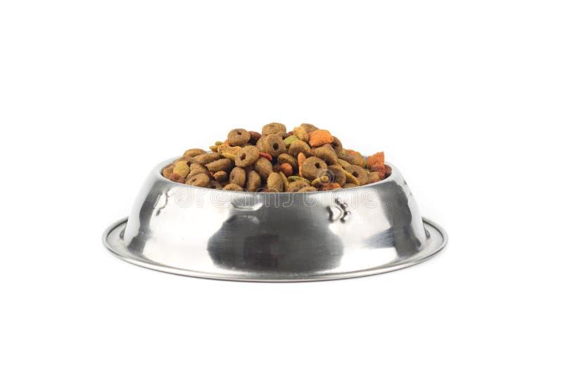 Kattenvoedsel in ijzerkom royalty-vrije stock afbeeldingen