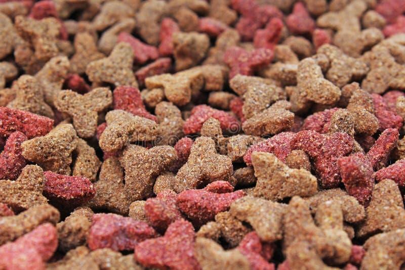 Kattenvoedsel, korrel, als achtergrond De textuurpatroon van het kattenvoedsel Droge de studiofoto van voedsel voor huisdierentex stock foto's