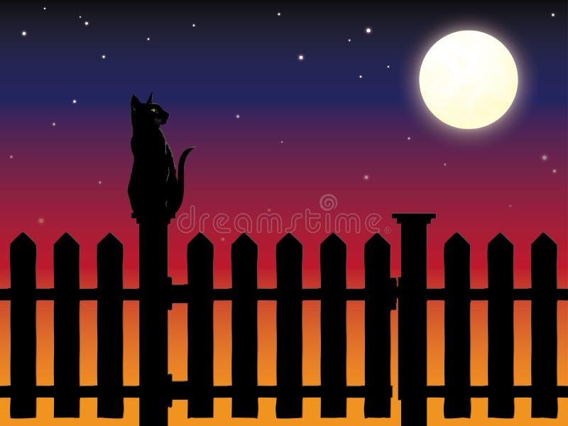 Kattenzitting op de post van de piketomheining in maanlicht stock illustratie