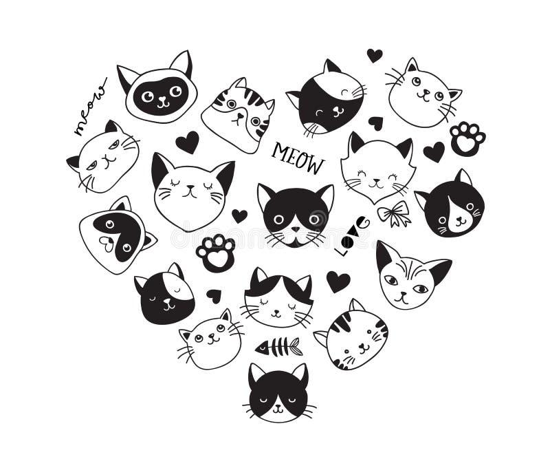 Katter älskar, samlingen av vektorsymboler, hand drog illustrationer med hjärta royaltyfri illustrationer