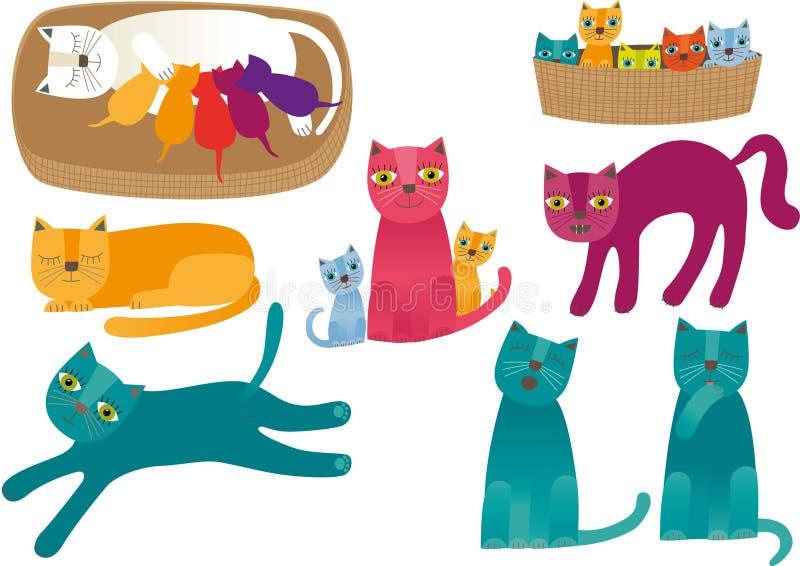 Katter stock illustrationer