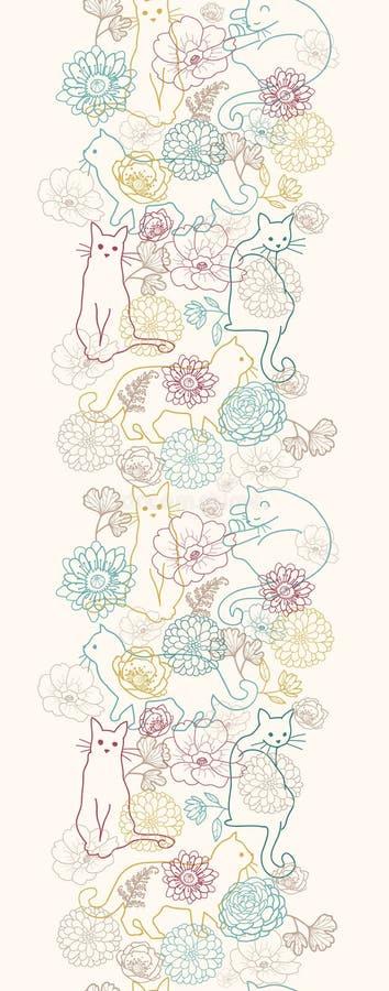 Katter bland vertikal sömlös modell för blommor royaltyfri illustrationer