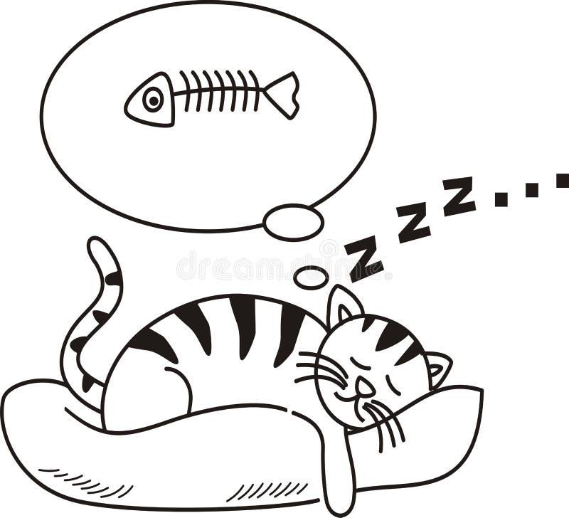 Katter faller sovande och drömmer om fisk royaltyfri illustrationer