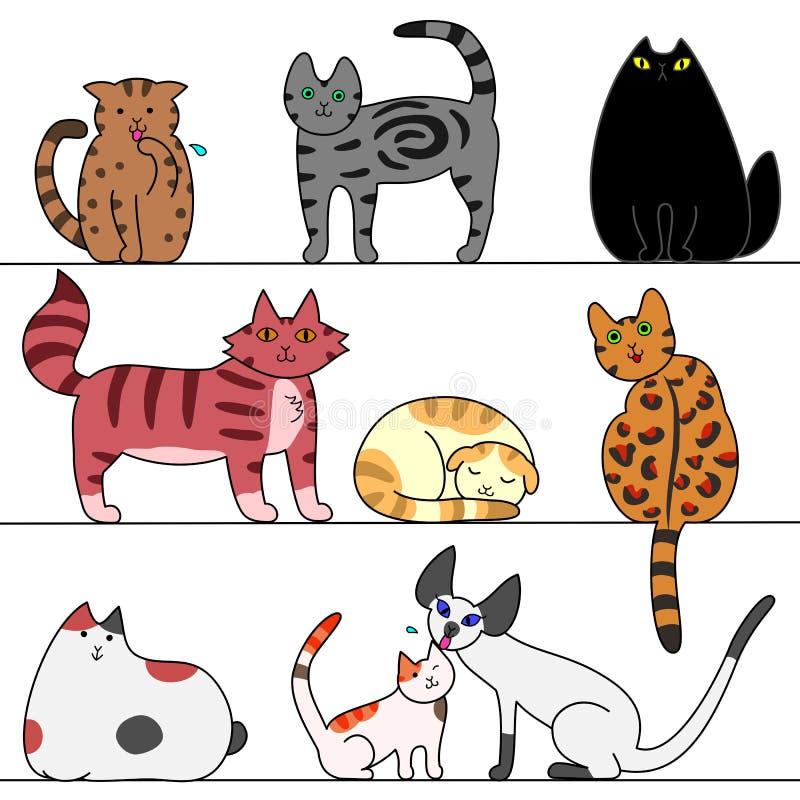 katter flera vektor illustrationer
