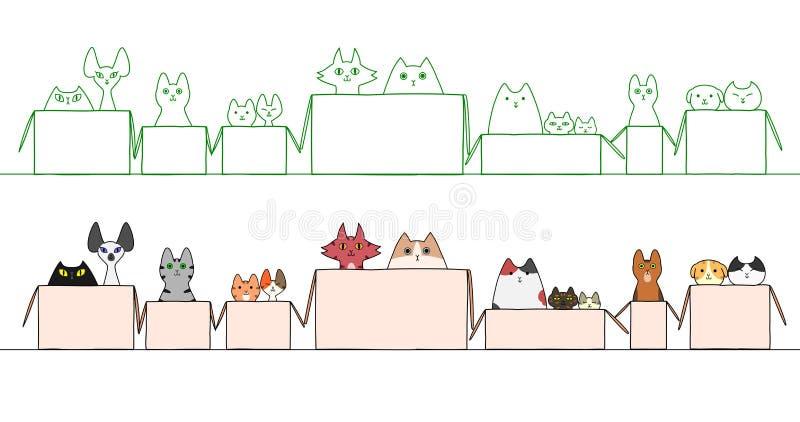 Katter i askar i ett rått vektor illustrationer