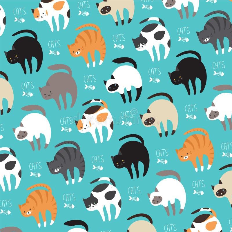Katter i vektor royaltyfri illustrationer