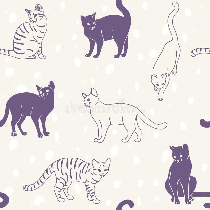 katter mönsan seamless vektor illustrationer