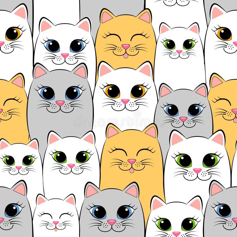katter mönsan seamless Bakgrund med grå färg-, vit- och ingefärakattungar vektor illustrationer