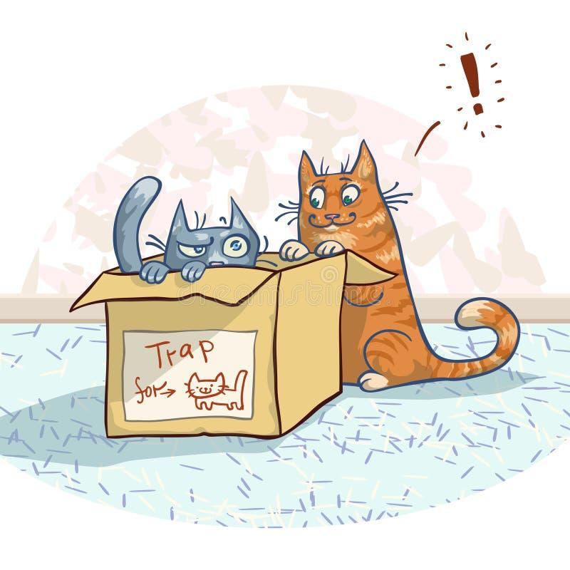 Katter och ask royaltyfri illustrationer