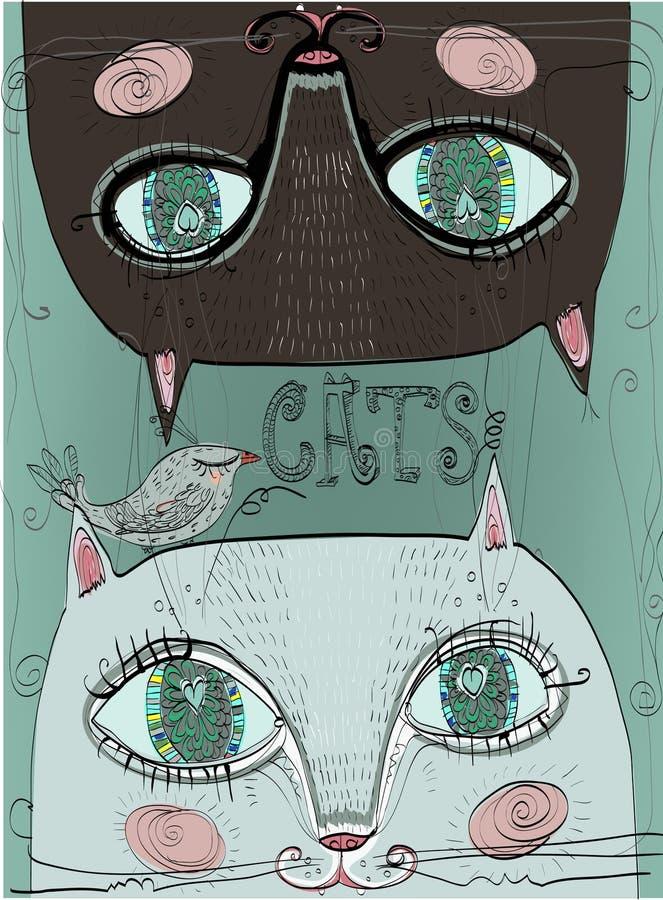 Katter och fågel royaltyfri illustrationer