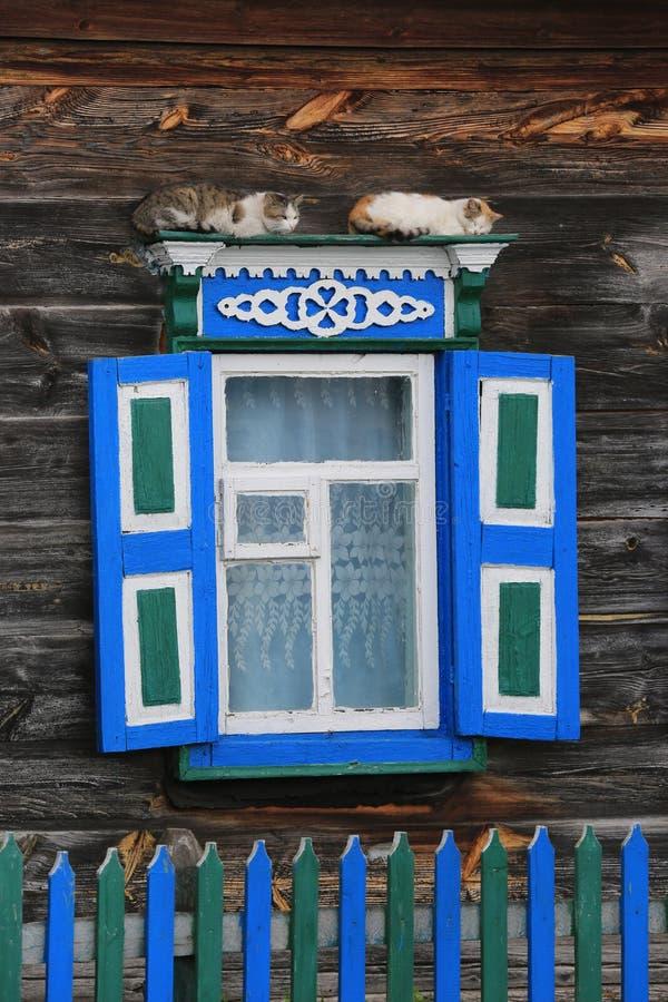 Katter på fönster av det gamla trälantliga hushuset royaltyfria bilder