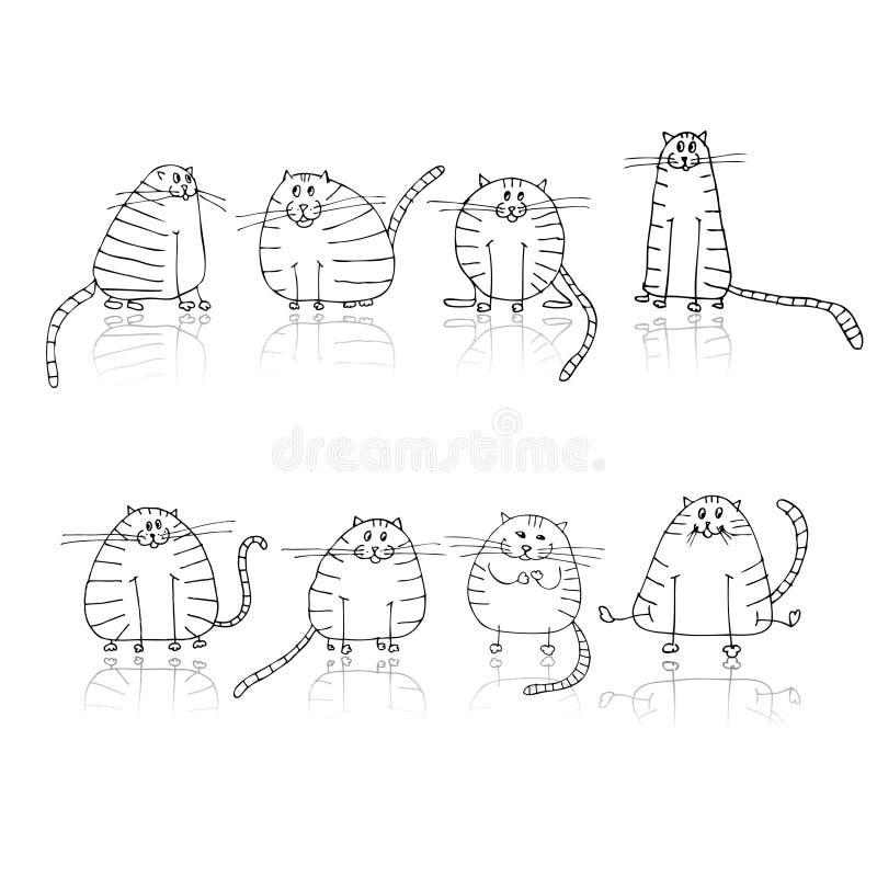 katter planlägger den roliga silhouetten görade randig ditt stock illustrationer