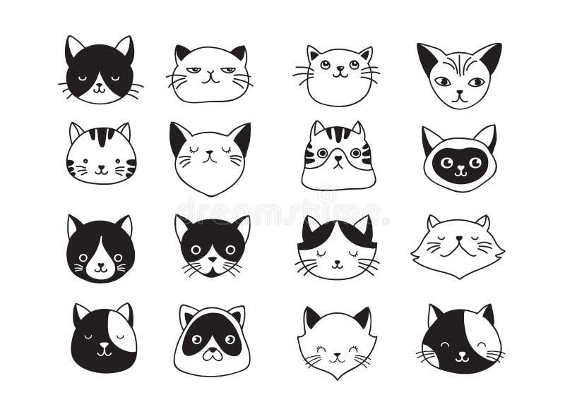 Katter samling av vektorsymboler, hand drog illustrationer stock illustrationer