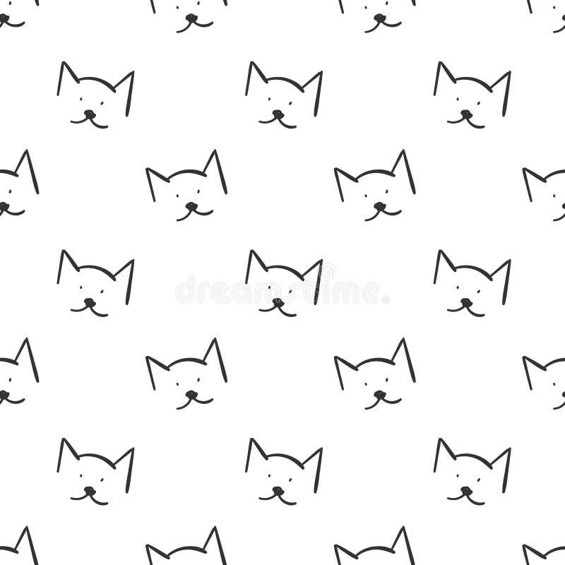 Katter skisserar den enkla sömlösa modellen på vit bakgrund vektor illustrationer