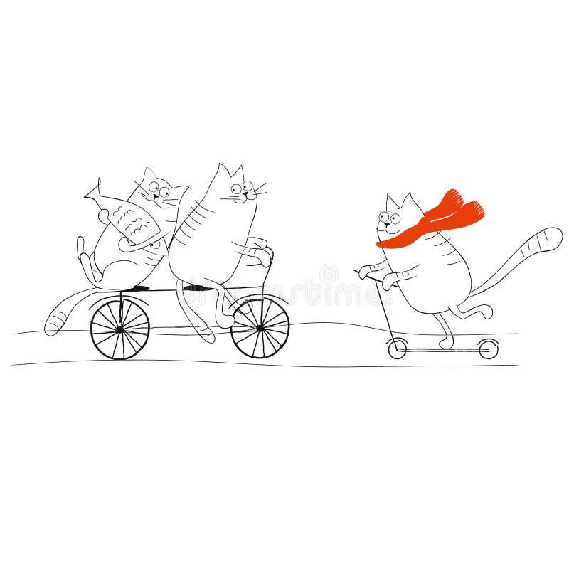 Katter som rider en cykel och en plan illustration för sparkcykel på vit royaltyfri illustrationer