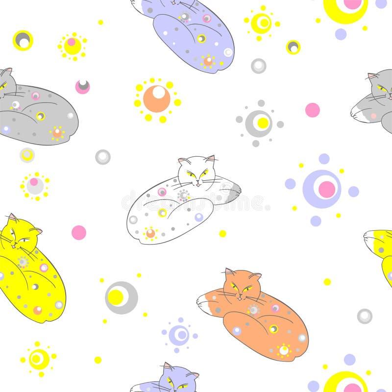Katter sovande i utrymme royaltyfri illustrationer