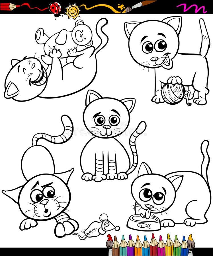 Katter ställde in tecknad filmfärgläggningboken vektor illustrationer