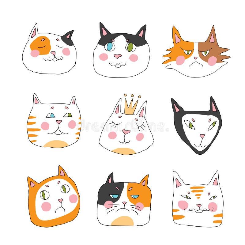 Katter uppsättning av det gulliga klottret Roligt stilfullt tystar ned Hand dragen modell för barn` s royaltyfri illustrationer