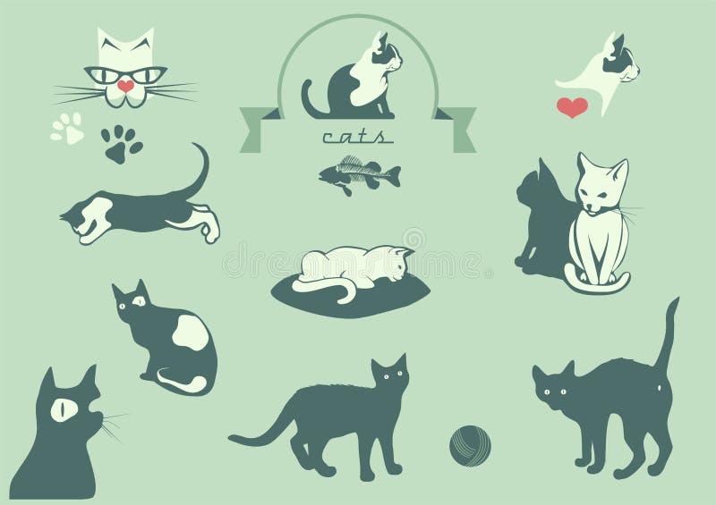 Katter veterinär- logobeståndsdelar, stock illustrationer