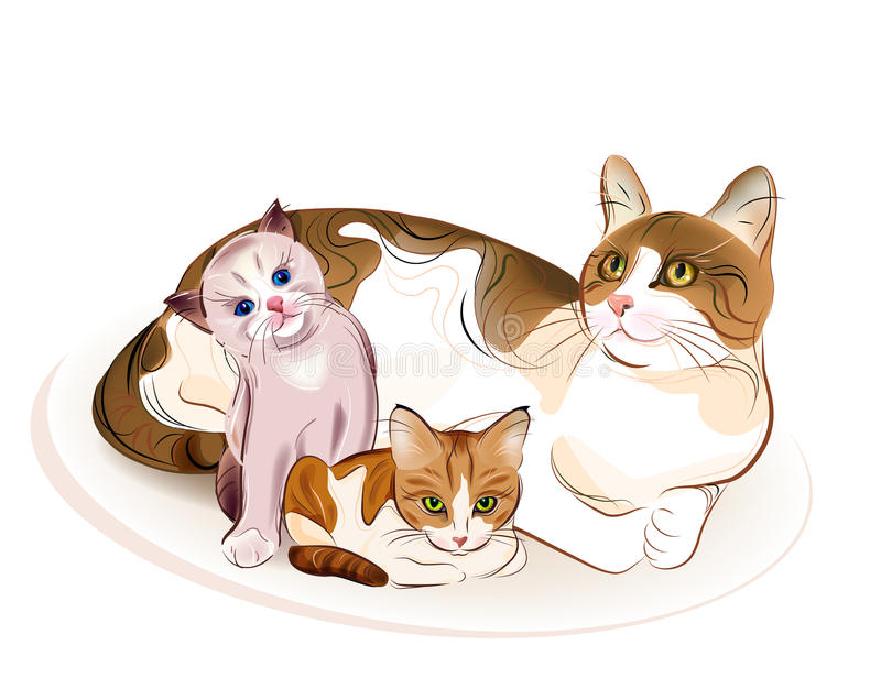 Download Kattfamilj vektor illustrationer. Illustration av maternity - 19794628