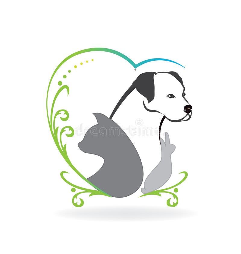 Katthund- och kaninlogo stock illustrationer
