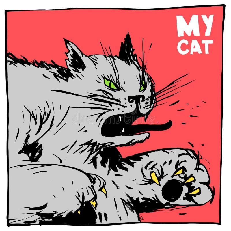 Kattkämpe och översittare Komisk bild för färg för att förpacka och att publicera royaltyfri illustrationer