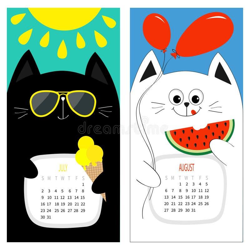 Kattkalender 2017 Gulligt roligt tecken för tecknad filmvitsvart - uppsättning Månad för Juli Augusti hälsningsommar Glass gul so stock illustrationer
