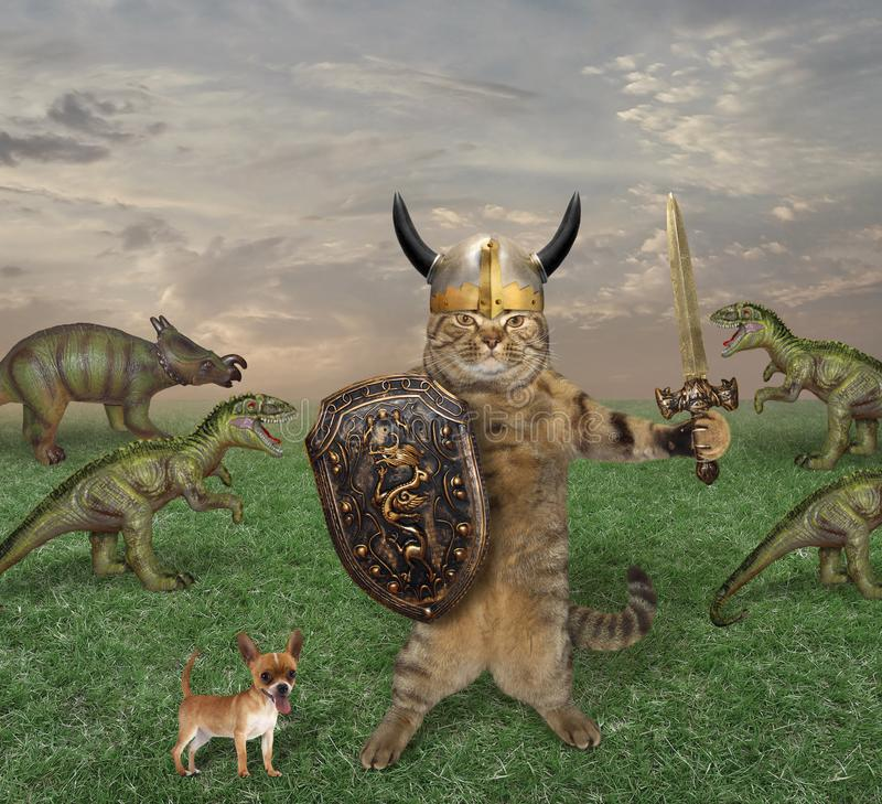 Kattkamper med dinosaurier arkivbild