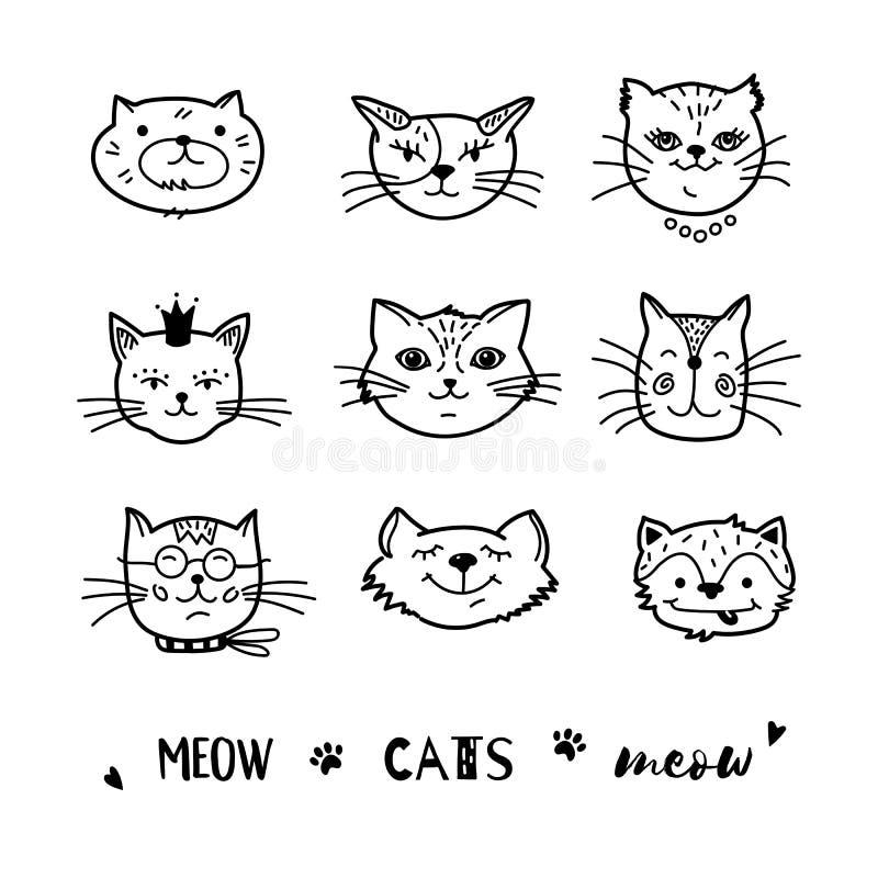 Kattklotter, hand dragen kattsymbolssamling Komiska gulliga kattungar för tecknad film också vektor för coreldrawillustration stock illustrationer