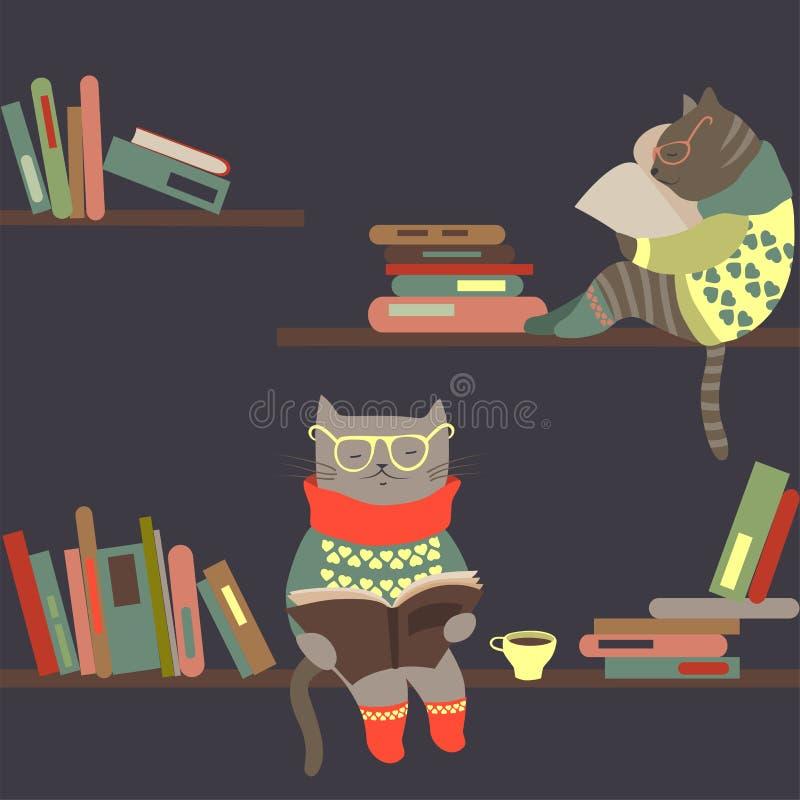 Kattläseböcker på bokhyllor stock illustrationer