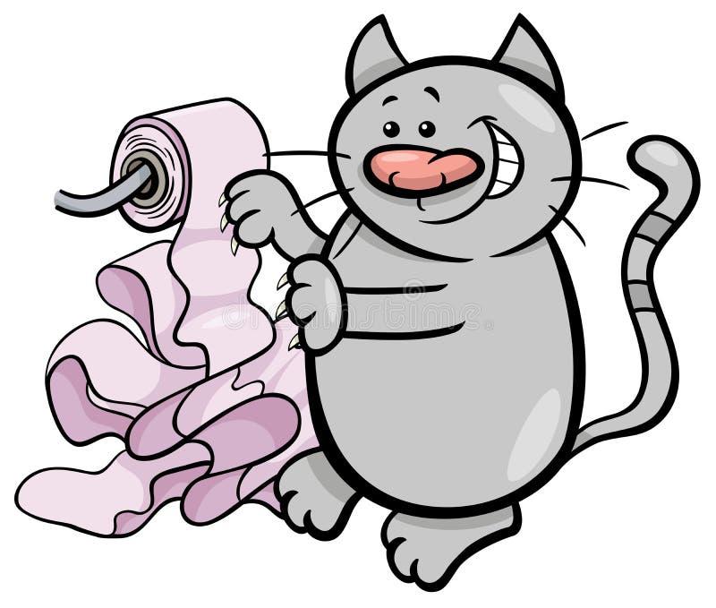 Kattlek med tecknade filmen för toalettpapper royaltyfri illustrationer