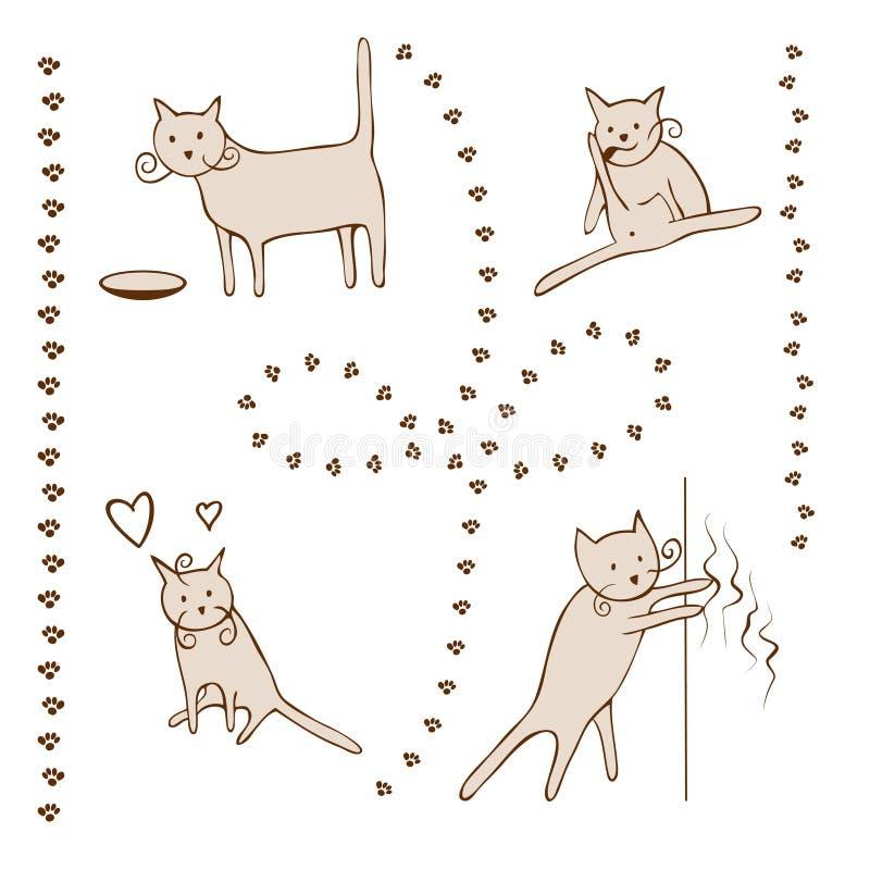 Kattlivkomiker skissar stock illustrationer