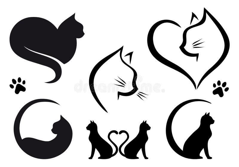 Kattlogodesign, vektoruppsättning vektor illustrationer