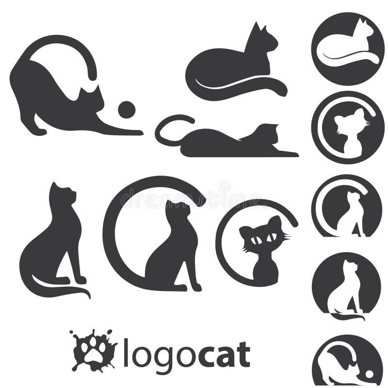 Kattlogouppsättning stock illustrationer