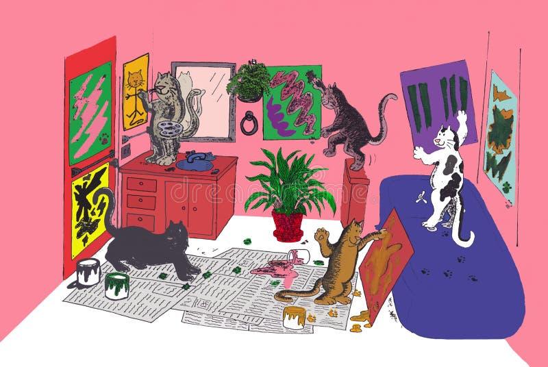 kattmålarfärg som royaltyfri illustrationer