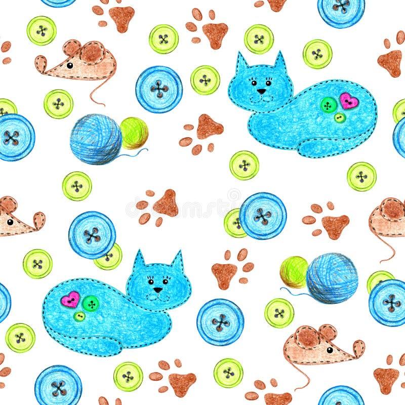 Kattmöss på en vit bakgrund vektor illustrationer