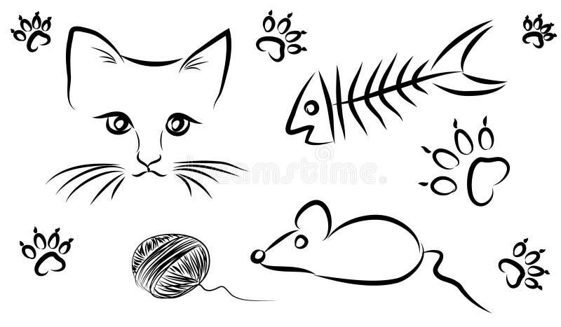 Kattmat och leksaker stock illustrationer