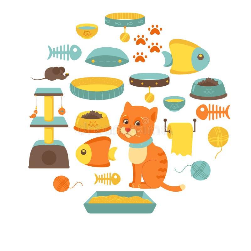 Kattmaterialsamling, kattleksaker, kattmat royaltyfri illustrationer