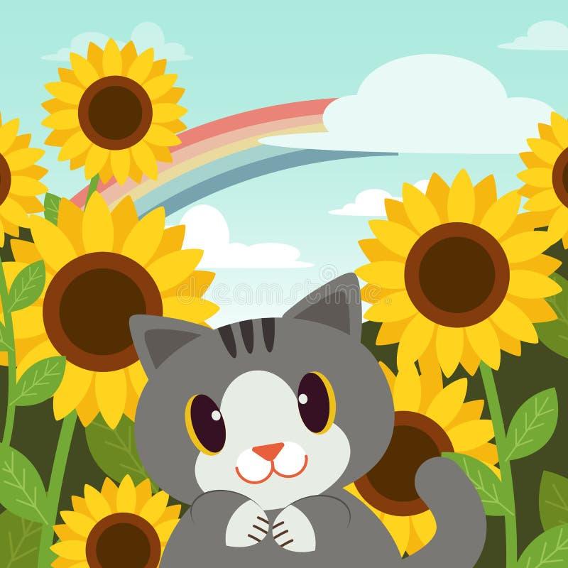 Kattposter i trädgården Ganska kattunge med gula solblommor i trädgårdens bakgrund kattleende regnbåge i himlen glad royaltyfri illustrationer