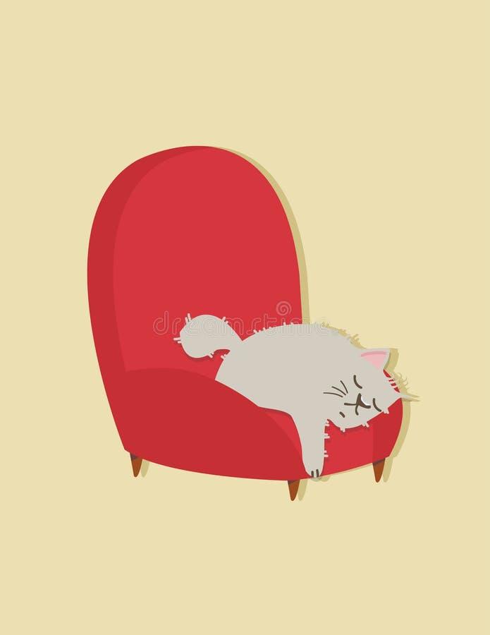 Kattsömn på soffan royaltyfri illustrationer