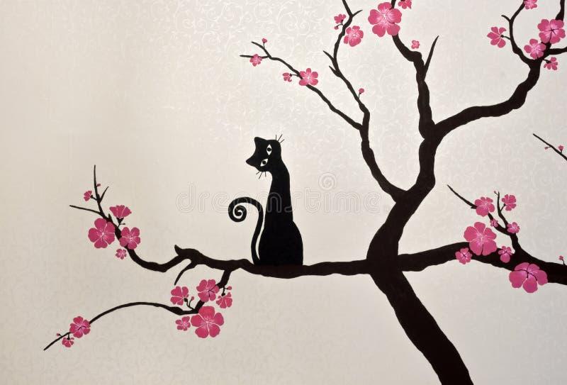 Kattsammanträde på en blommande sakura filial (tapetmålning) royaltyfri foto