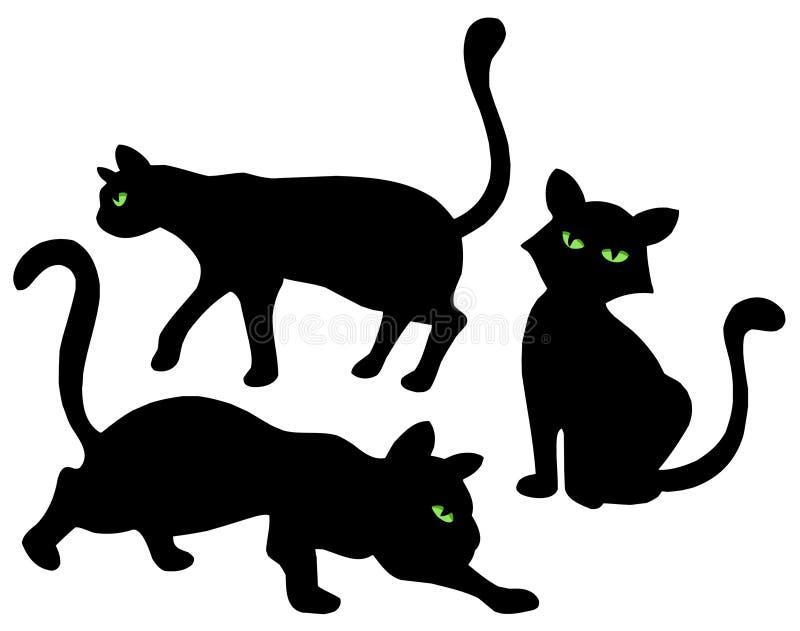 kattsilhouettes stock illustrationer
