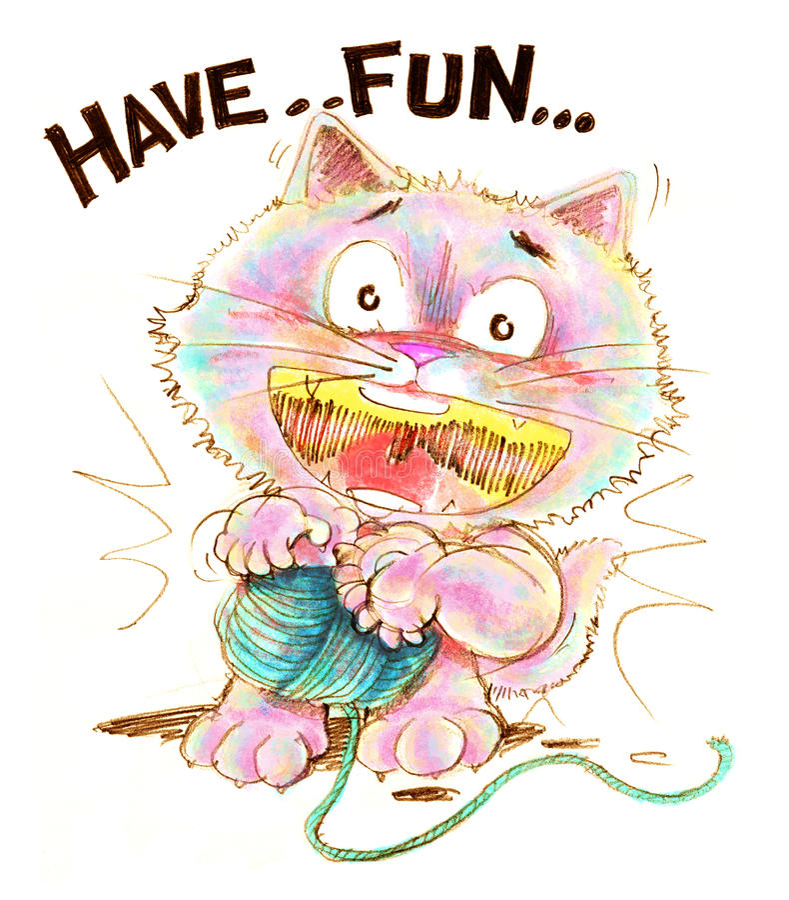 Katttecknad film som spelar garnblyertspennafärg vektor illustrationer