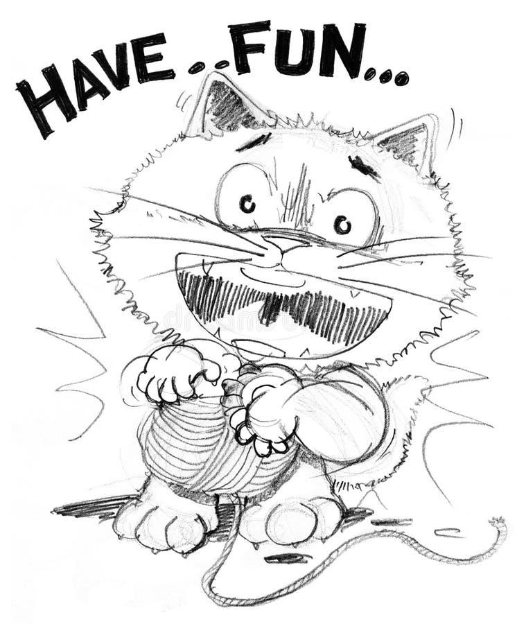 Katttecknade filmen som spelar garn, har gyckel royaltyfri illustrationer