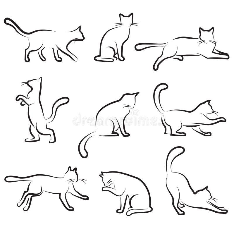 kattteckningsset royaltyfri illustrationer