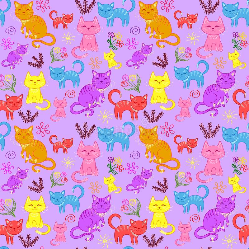 kattungar katter ställde in, den sömlösa modellen stock illustrationer