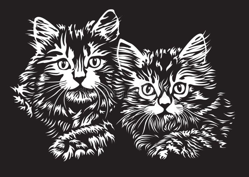 kattungar två stock illustrationer