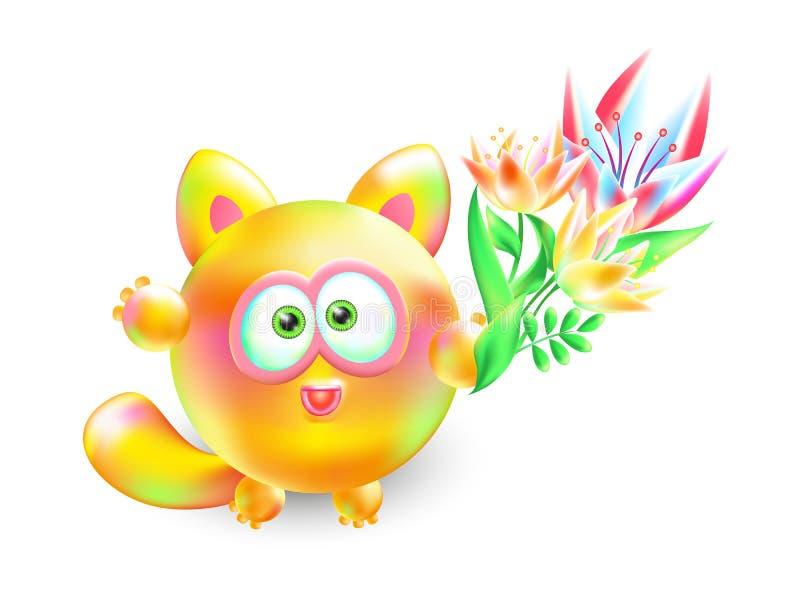 Kattunge för illustration för vektor 3d liten Realistisk mång--färgad gladlynt katt med den härliga buketten av blommor på vit ba vektor illustrationer