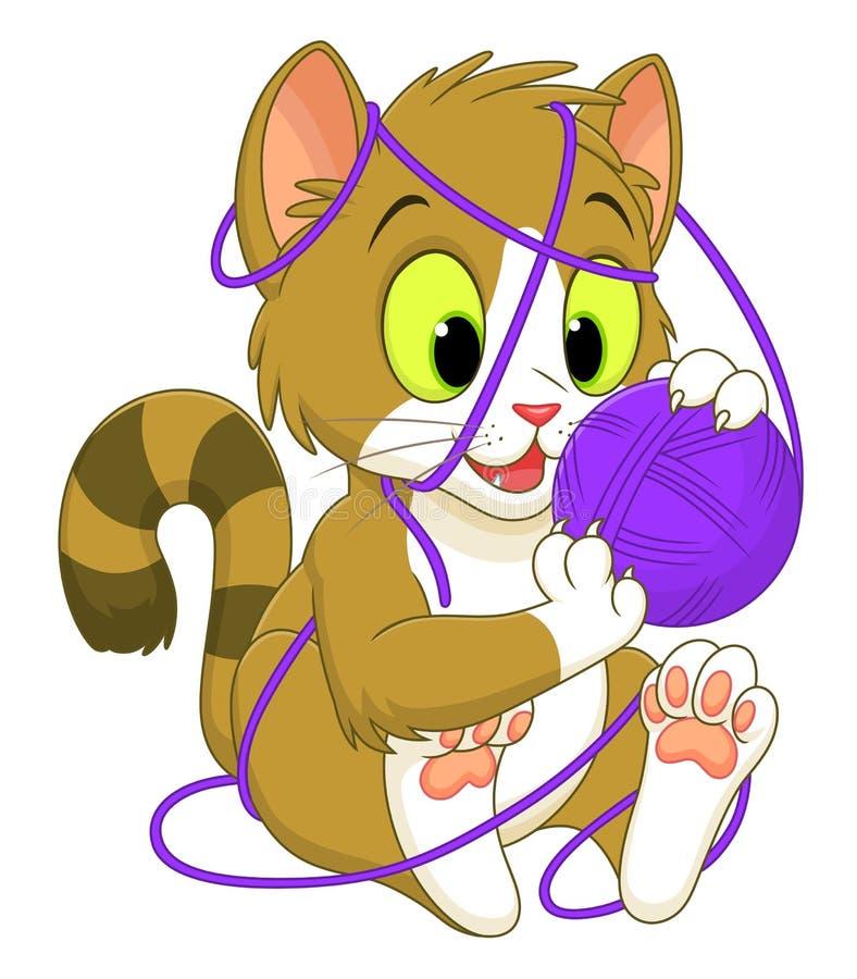 Kattunge med ett garnnystan vektor illustrationer