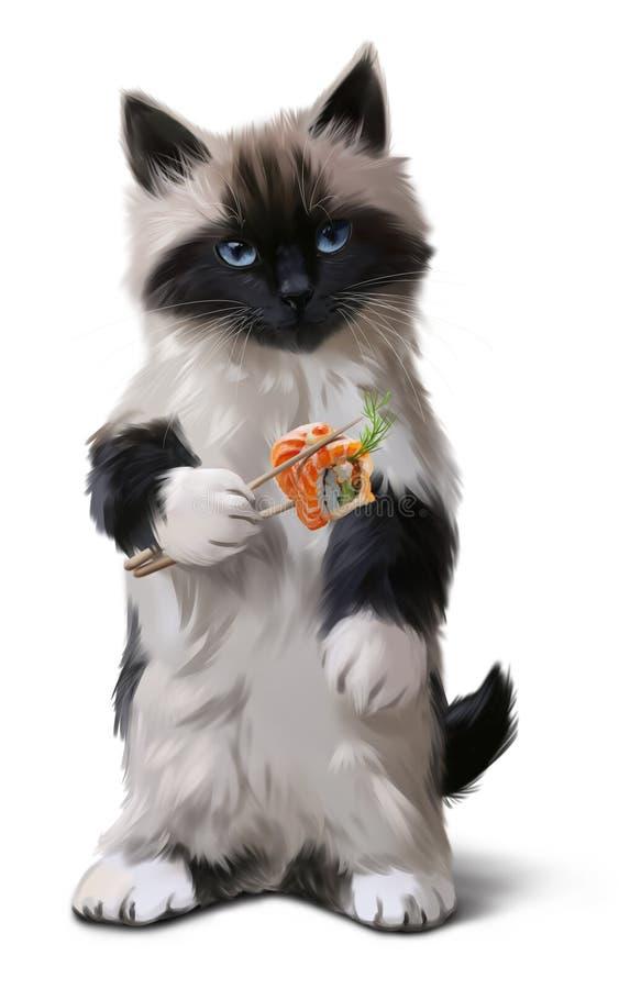 Kattunge- och sushivattenfärgteckning royaltyfri illustrationer